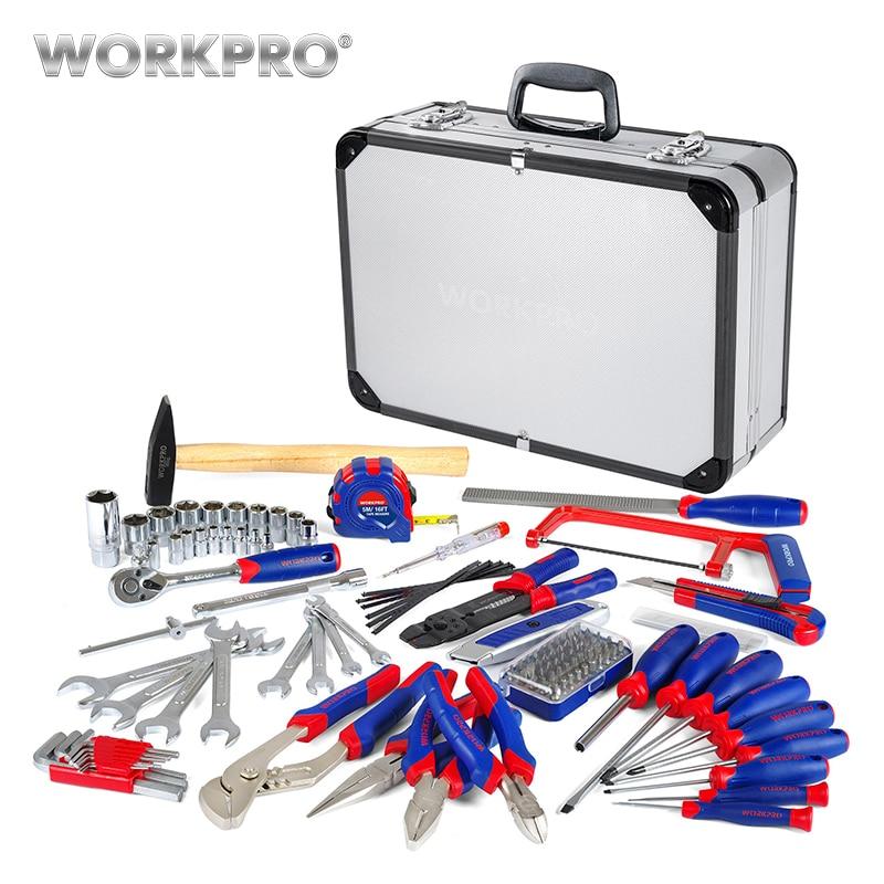 WORKPRO 119PC Tool Set Aluminum Box Home Repair Kits Household Hand Tools