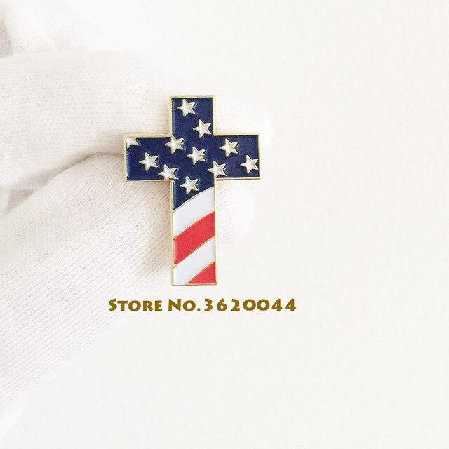 20pcs Wholesale Christian Cross Pin Custom Badge With USA Flag American US  Patriotic Religious Jewelry Enamel