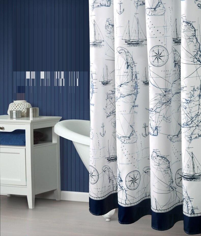 Mediterranean Style Thicken Polyester Bathroom Curtain Mould ...