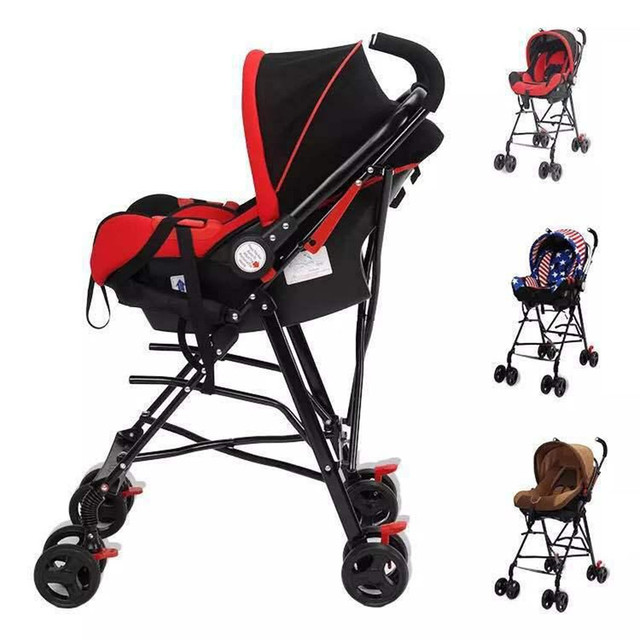 Newborn Baby Car Seat Stroller Carts Light Folding Portable With Childrens Safety Basket Steel