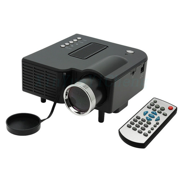 UC28 Portable LED Projector Cinema Theater PC&Laptop VGA/USB/SD/AV/HDMI Input White Mini Projector Support 1024*768 Projector