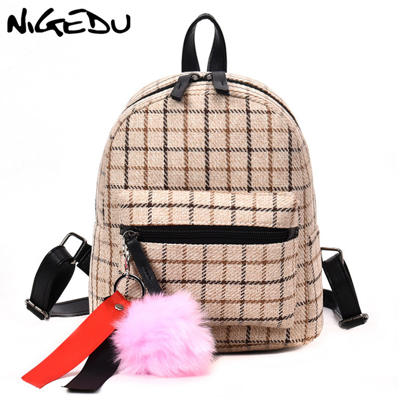 Wool Plaid Women Backpack small Vintage Soft Handle Travel Backpack with Plush Toys Cloth Bag School Bag for Girls teenagers baoWool Plaid Women Backpack small Vintage Soft Handle Travel Backpack with Plush Toys Cloth Bag School Bag for Girls teenagers bao