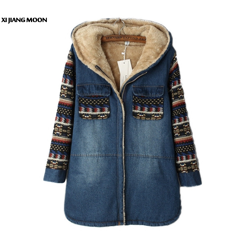 Women Winter Jacket Women Lambswool Jean Jacket Coat Hooded 1