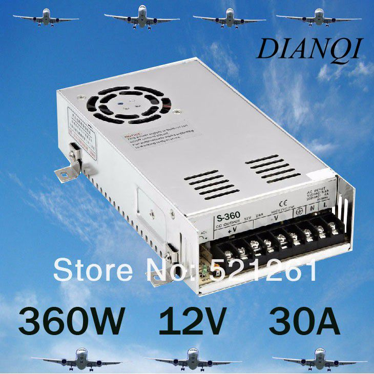360W 30A Switching Power Supply For LED Strip light 220V/110V AC input 12V output power suply ac to dc S-360-12 freeshipoing 360w led switching power supply 85 265ac input 12v 30a for led strip light power suply ce rosh 12 output