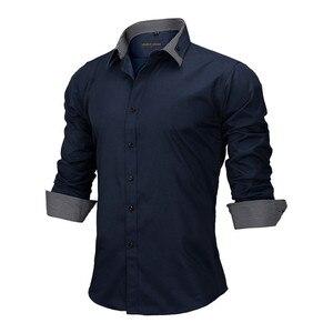 Image 3 - VISADA JAUNA Camiseta de manga larga para hombre, camisa masculina de manga larga con estampado de retales de algodón, informal, ajustada para oficina, talla europea, 2018