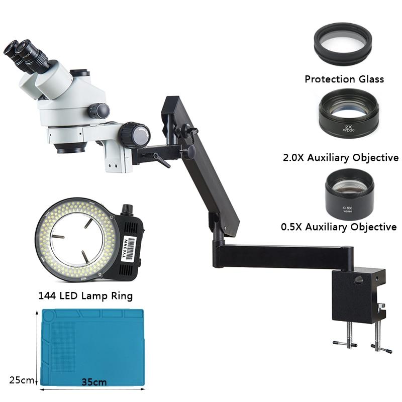 3 5X 90X Simul Focal Industrial Stereo Trinocular Microscopio Articulating Clamp Holder Bracket Arm For Phone