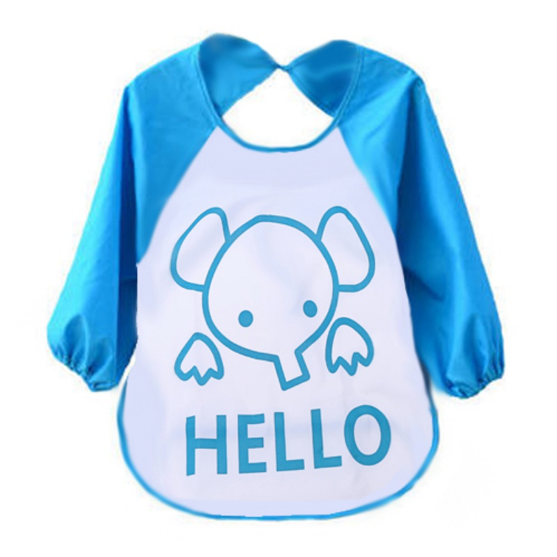 Baby Waterproof Kids Child Translucent Plastic Soft Baby Bibs Cute Cartoon Long Sleeve Feeding Clothes