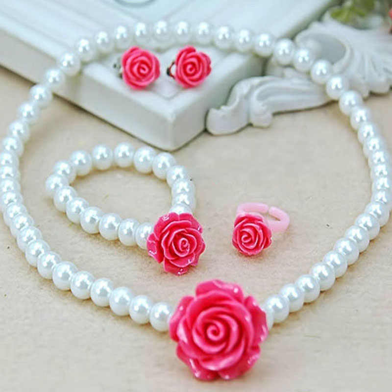 Pretty Imitation Pearls Necklace Set Rose Resin Flower Shape Necklace Set Girls Child Gift