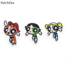 A0201 Patchfan The Powerpuff Girls patch Embroidered DIY Iron/sew On Cloth Accessories Newest Popular Patches Appliques