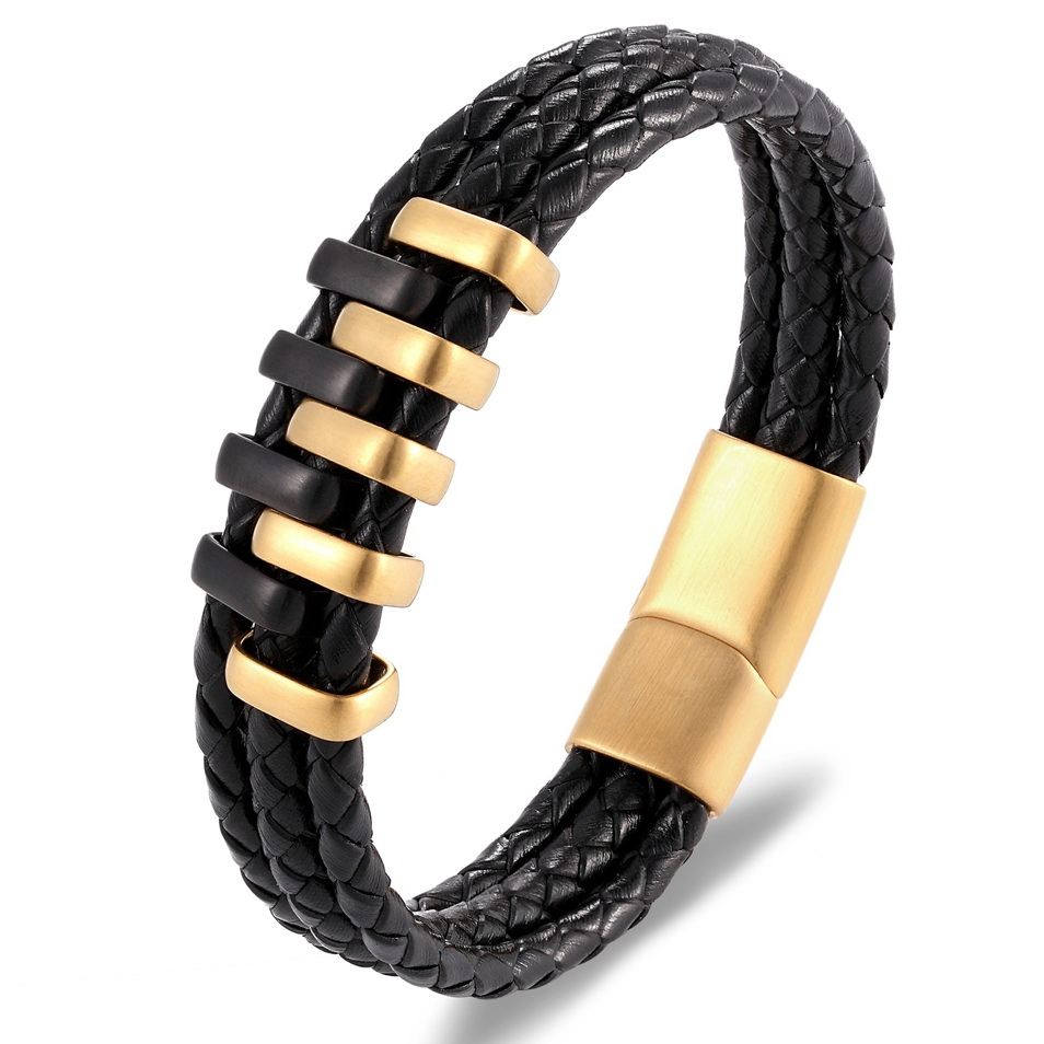 New Arrival Double Layer Black Gold Steel Punk Style Design Perfect Gift Personality Black Genuine Leather Bracelet Men Jewelry