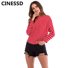 CINESSD Women Striped Knitted Pullover Sweater Black Round Neck Long Sleeves Solid Casual Tops Knitwear Tee Shirts Thin Sweaters black lace details long sleeves knitwear