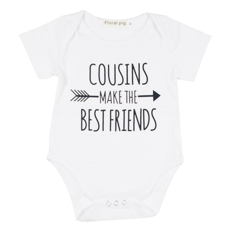 מצחיק תינוקות בגדי תינוקת דודן החבר הכי טוב מכתב הדפס לבן קצר שרוולים זעירים Cottons Baby Bodysuits Onesie 0-18M Baby