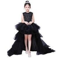 Вечернее платье черного цвета для девочек; модельное платье принцессы для прогулок; детское свадебное платье с хвостом; платье для выступле