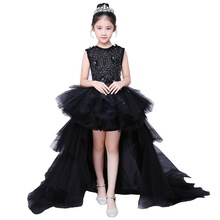 Girl Evening Black Dress Model Walk Show Princess Dress Children Drag Tail Wedding Dress Piano Performance Dress Flower Boy Host недорого