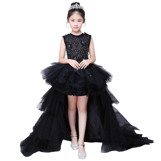 Girl Evening Black Dress Model Walk Show Princess Dress Children