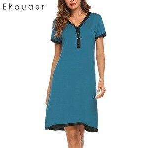 Image 2 - Ekouaer sukienka wieczorowa koszule nocne bielizna nocna macierzyństwo karmienie piersią koszula nocna domowa koszulka z krótkim rękawem damska dekolt nocna koszula nocna