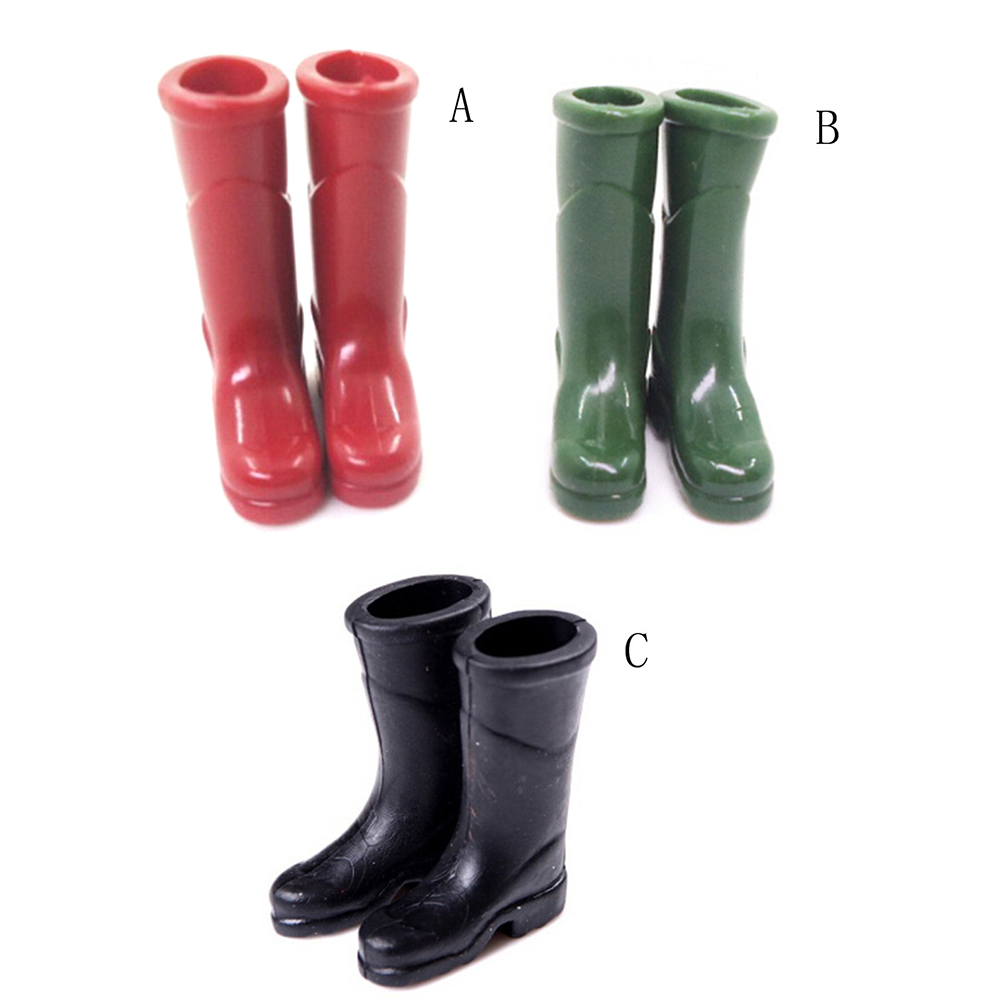 Cute Miniature Dollhouse 1 Pair Black Rain Boots Shoes For 1:6 1:12 Doll Gift \