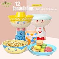 3pcs/set Corn tableware children tableware 12 constellations children dinnerware Environmental kids plate cute carton tableware