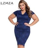 LZMZAลึกVคอขนาดบวกเซ็กซี่ชุดฤดูร้อนผู้หญิงแขนสั้นสีดำชุดลูกไม้สีฟ้า