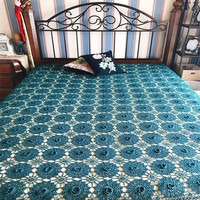 American style 100%cotton linen manual crocheted turquoise bed cover coverlet single twin full size free shipping LQ