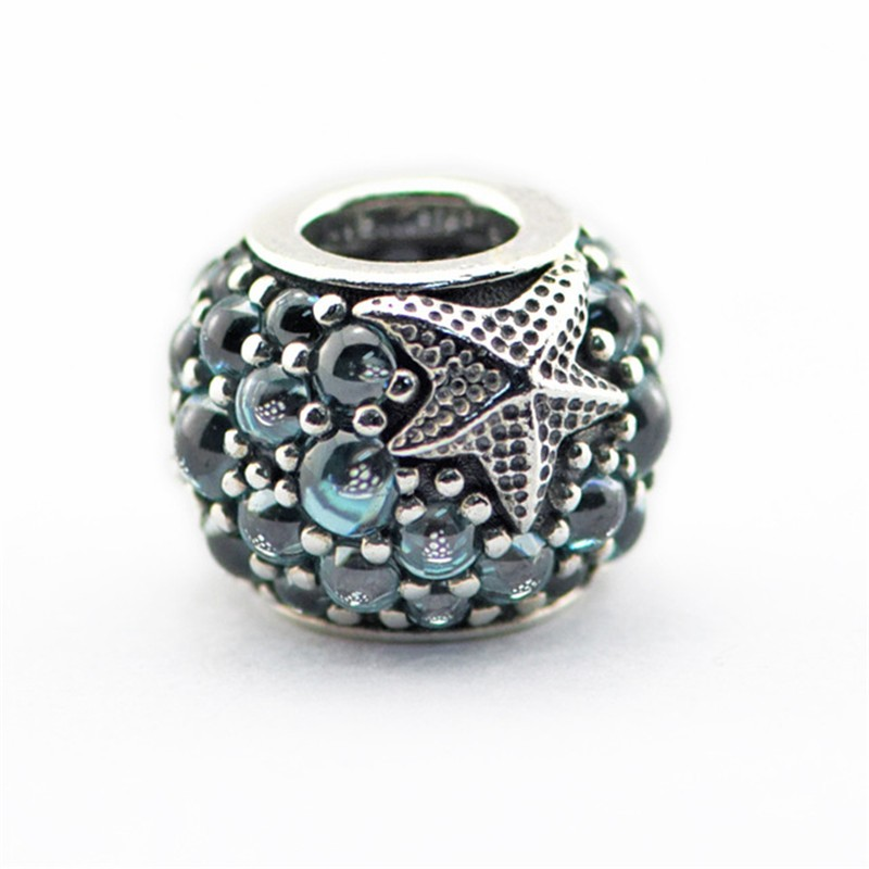 2016 Summer Oceanic Starfish Beads Fits Pandora Charms Bracelet Frosty Mint CZ Beads For Jewelry 925 Sterling Silver Jewelry  (2)
