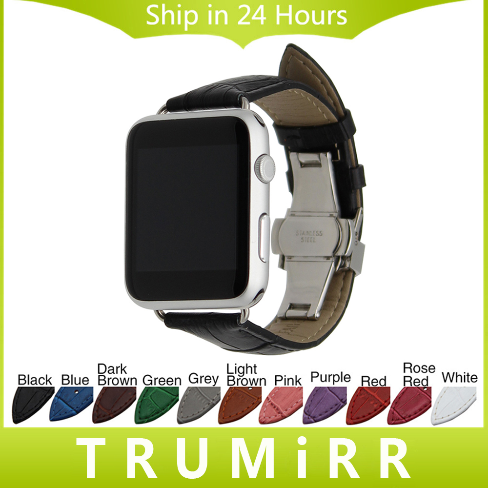 Genuine Leather Watchband Butterfly Buckle Strap + Adapter for 38mm 42mm iWatch Apple Watch Band Wrist Belt Bracelet Black Brown 6 colors luxury genuine leather watchband for apple watch sport iwatch 38mm 42mm watch wrist strap bracelect replacement