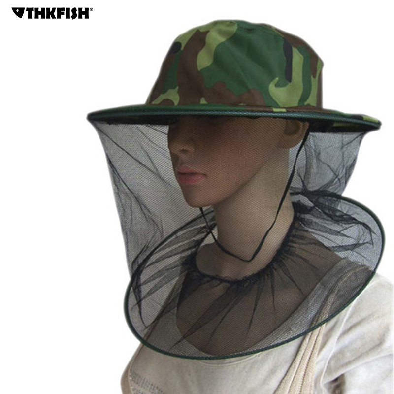 THKFISH Fishing Hat Cap Camouflage Beekeeping Gauze Caps Anti-mosquito Hats Summer Sun Protection Hat Outdoor Fishing Hats 2017cotton embroidery letter w baseball cap snapback caps bone hat distressed wearing style outdoor hat for men custom hats