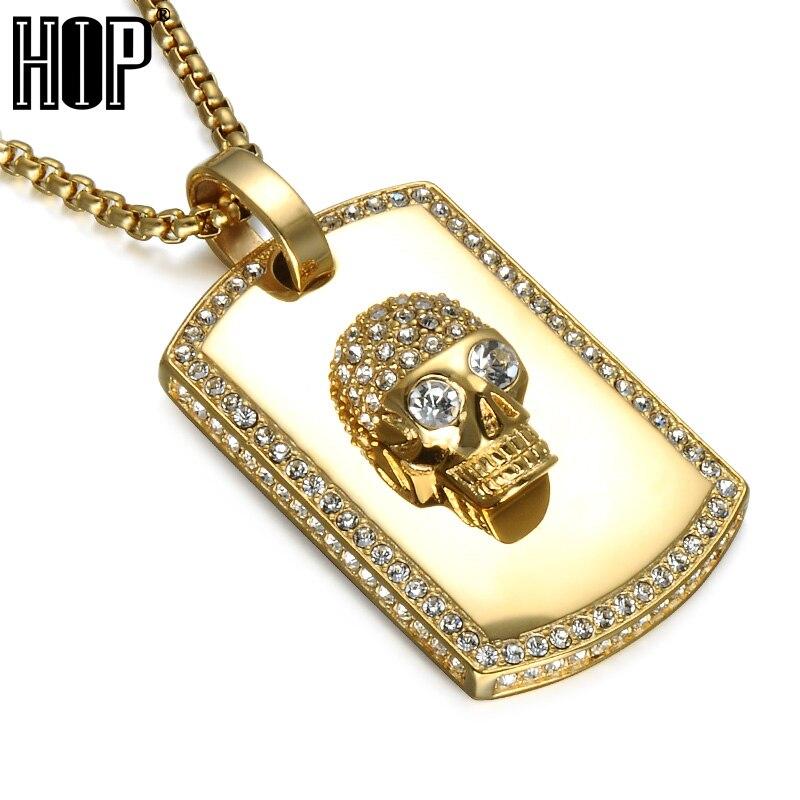 Hip Hop iced out Bling esqueleto cráneo Colgantes oro color titanio ...