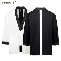 Fashion Men S Kimono Jacket Japanese Style Stitching Loose Cotton Coat Simple Casual Work Clothes Black