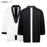 Fashion Men's Kimono Jacket Japanese-style stitching Loose Cotton Coat Simple Casual Work clothes Black White Overcoat M/L/XL