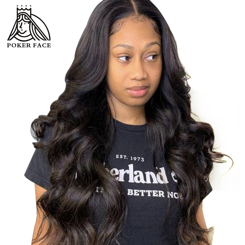 Poker Face Body Wave 250% Density 360 Lace Frontal Wig With Baby Hair Natural Human Hair Full Lace Wig 12-26 Inch