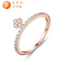 Womens Plant Finger Rings Luxury Cubic Zirconia Stone Rose Gold Color Wedding Bands Jewelry for Women Bride Promise Ring fashion rose gold color female promise ring with aaa cubic zircon crystal jewelry wedding bands rings for women bride wholesale
