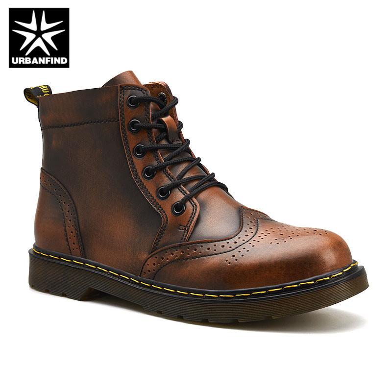 2019 High Quality Genuine Leather Men Boots Winter Waterproof Ankle Boots Martin Boots Outdoor Working Snow Boots Men Shoes