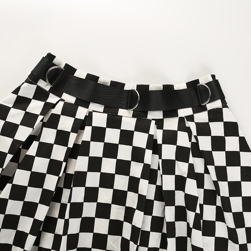 10Sweetown Korean Fashion Checkerboard Pleated Skirts Womens Sashes High Waist Zipper Cotton Short Skirt Woman Summer 2018 Skirts