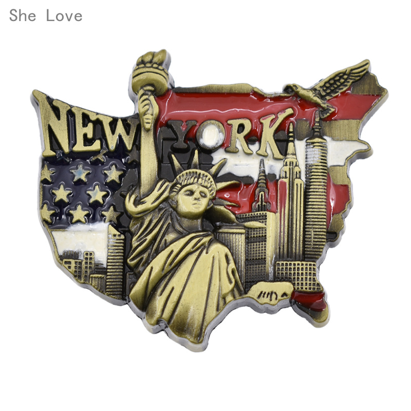YC01XKM022A1  She Love 3D Metallic Fridge Magnet United States New York Statue of Liberity Journey Memento Present HTB1lB68ckyWBuNjy0Fpq6yssXXaY