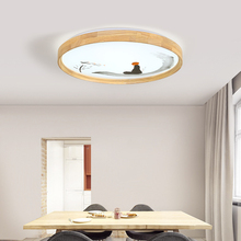36W LED Modern Ceiling Light Round Wooden Ceiling Light Fixture Remote Control Indoor Bedroom Surface Mounted Decor Lighting