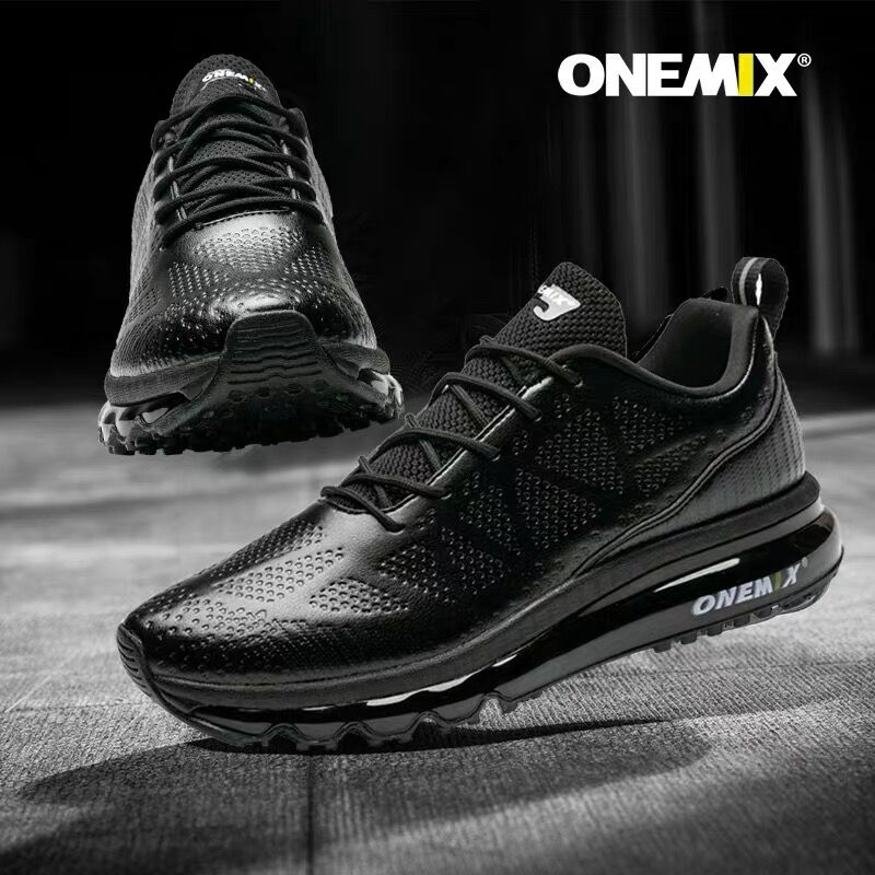 ONEMIX Men Air Cushioning Running shoes leather upper Runner Athletic Sneakers Outdoor Jogging Gym Fitness Running