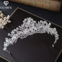 CC Tiaras Crowns Cz Hairbands Beads Elegant Wedding Hair Accessories For Women Bride White Gold Color