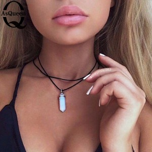 Pu leather natural crystal stone opal choker necklace fashion boho choker for women jewelry party gift