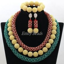 Top Quality Crystal Beads African Jewelry Set Costume Nigerian Wedding African Bead Statement Necklace Set Free Shipping ALJ254