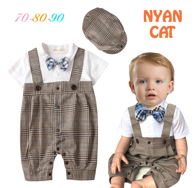 9eb11e2f5 Free Shipping 3sets/lot Infant Toddler Baby Boy's Formal Wear Tuxedo Rompers  and Caps Set