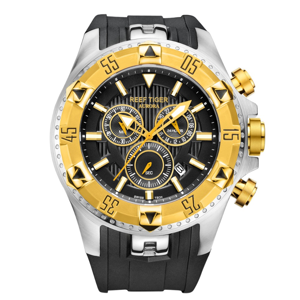 2020 Reef Tiger/RT Top Brand Men Sports Quartz Watches With Chronograph Date Super Luminous Steel Yellow Gold Stop Watch RGA303