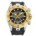 Reef Tiger/RT мужские спортивные кварцевые часы с хронографом и датой с большим циферблатом, Супер Светящиеся стальные часы из желтого золота RGA303