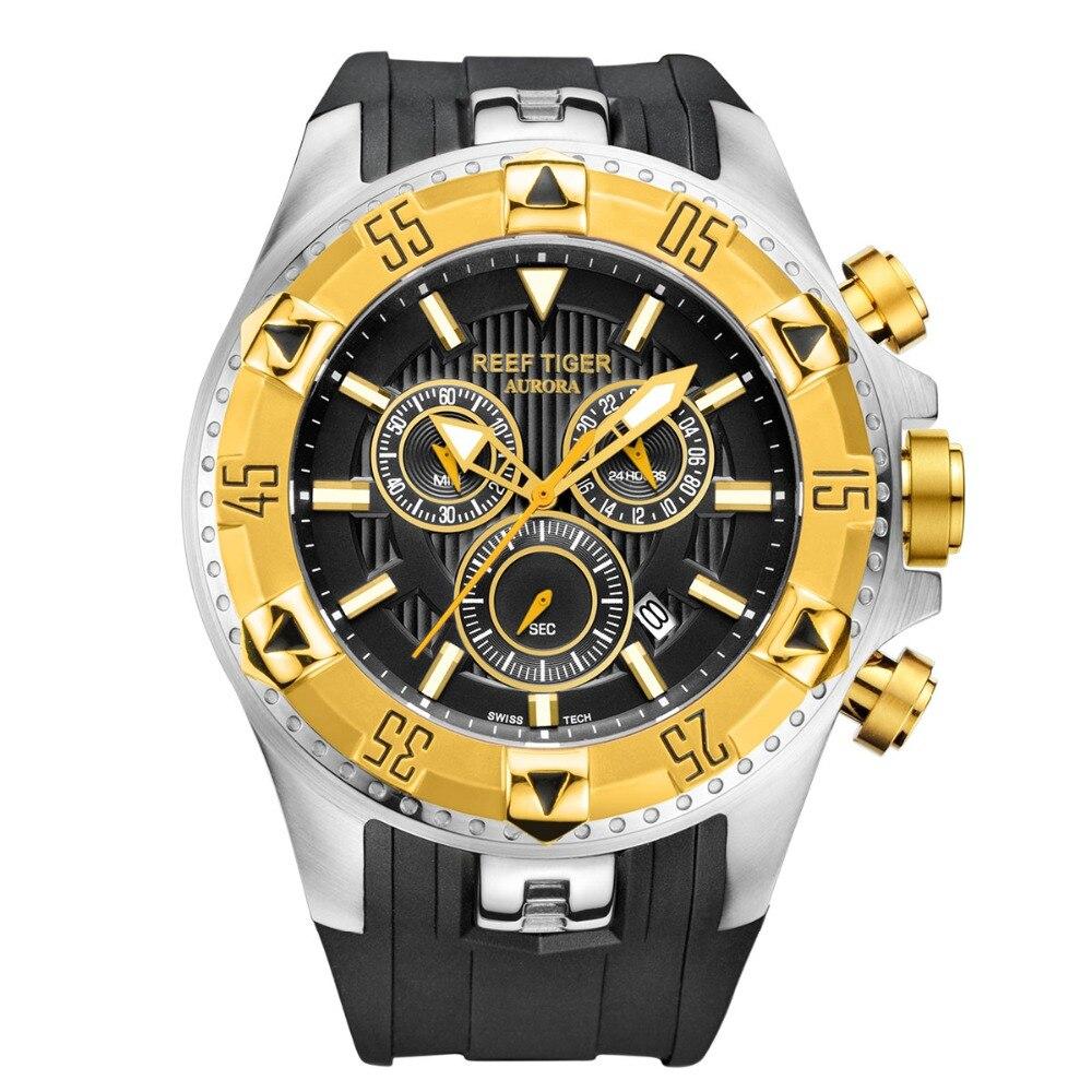 Reef Tiger/RT ผู้ชายกีฬาควอตซ์นาฬิกา Chronograph และวันที่ขนาดใหญ่ Super Luminous สีเหลืองทองหยุดนาฬิกา RGA303-ใน นาฬิกาควอตซ์ จาก นาฬิกาข้อมือ บน   1
