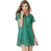 2016 Hot Style Hollow Out Of Bud Silk Dress With Short Sleeves