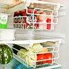 Telescopic Shelf Split Refrigerator Drawer Big Storage Hold Racks Organizer For Kitchen White Guardar Comida