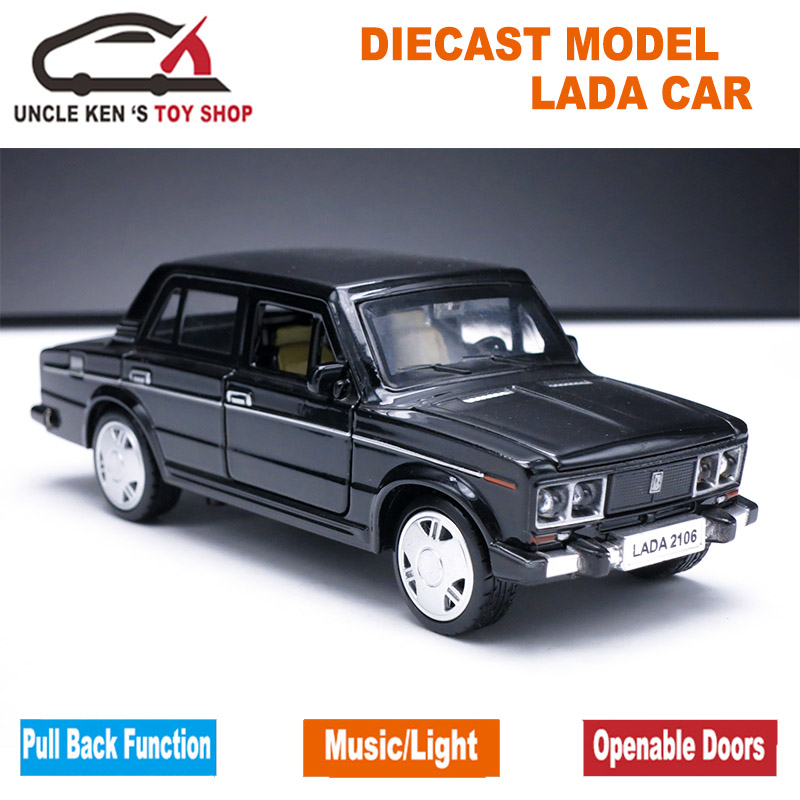 Купить с кэшбэком 1/32 Diecast Scale Model, Russian Lada Cars Replica, Metal Toy As Boys Gift With Openable Doors/Music/Pull Back Function/Light