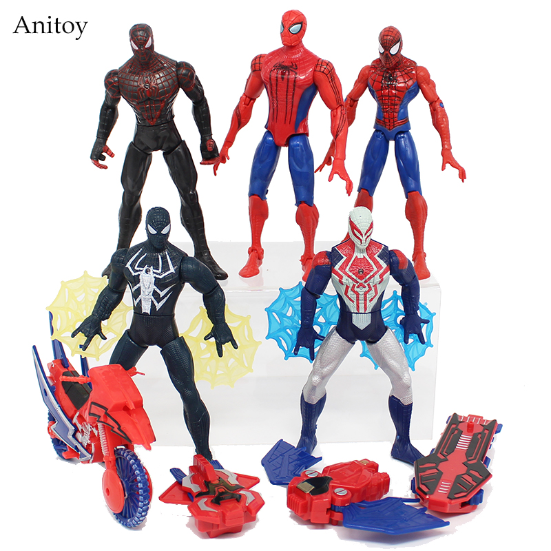 Anime Spiderman Rush With <font><b>Web</b></font> with LED Light PVC Figure Collectible Model <font><b>Toy</b></font> 6-16cm KT4026