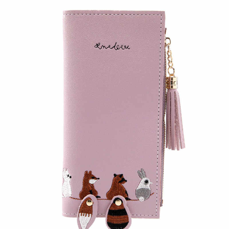 Winter new women's purse small animal cute two fold wallet change students fashion coin bags girls cartoon card money pu purse