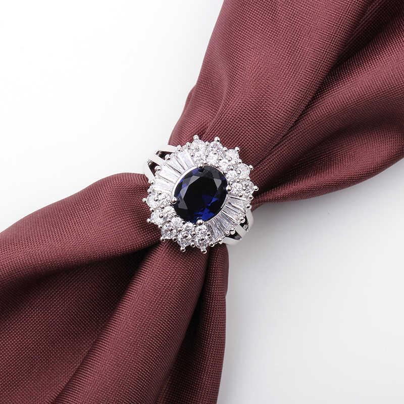 أنيقة كبيرة الأزرق كريستال الذهب الأبيض شغل خاتم CZ تصميم فريد خمر خواتم الزفاف الطرف للنساء عيد الميلاد مجوهرات الأزياء